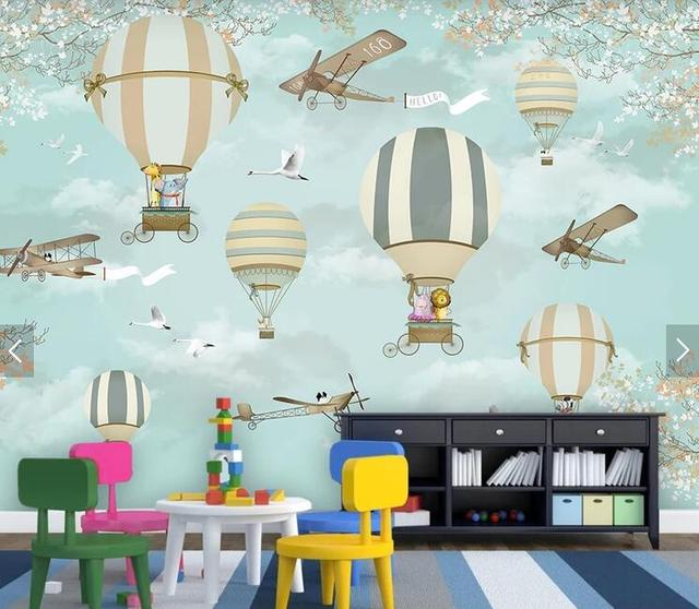 Bacaz Airplane Fire Balloon 3d Cartoon Wallpaper Murals for Kids Child Baby Room Papel 3d Cartoon Mural 3d Wall paper