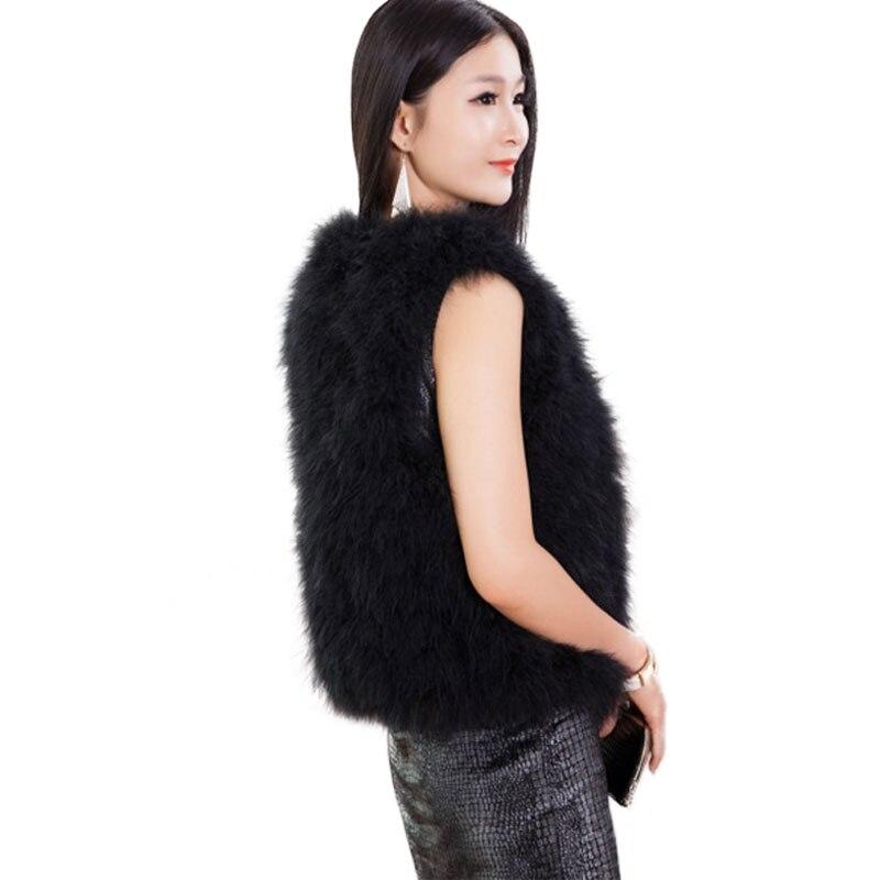 Téli divat női rövid strucc toll nadrág női alkalmi v nyak igazi - Női ruházat