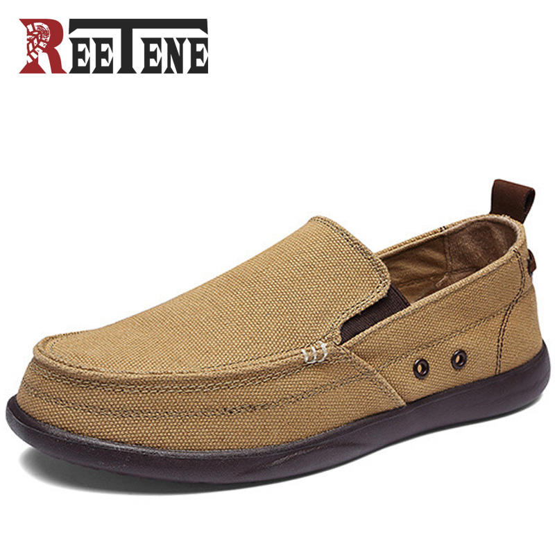 REETENE Canvas Herr Skor Loafers 2018 Fashion Brand Canvas Shoes Komfort Andas Slip On Casual Shoes Höst Flats Stor Storlek