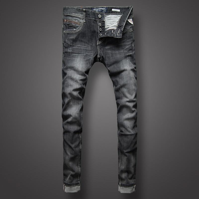 Fashion Classic Men Jeans Black Gray Color Denim Stripe Jeans Buttons Mens Pants High Quality Slim Fit Street Biker Jeans Homme
