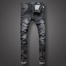 Fashion Classic Style Men Jeans Black Gray Color Denim Stripe Jeans Buttons Mens Pants High Quality Slim Fit Street Biker Jeans dsel brand men s jeans high quality blue color denim stripe jeans mens pants buttons destroyed ripped jeans for men biker jeans