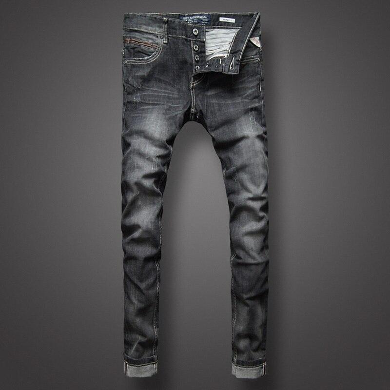 Mode classique hommes Jeans noir gris couleur Denim rayure Jeans boutons hommes pantalons de haute qualité Slim Fit rue Biker Jeans Homme