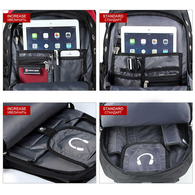 ستة أشعة حقيبة لابتوب ذكر خارجي USB تهمة الظهر مكافحة سرقة مقاوم للماء على ظهره حقيبة التخزين مع قفل غطاء واق من المطر