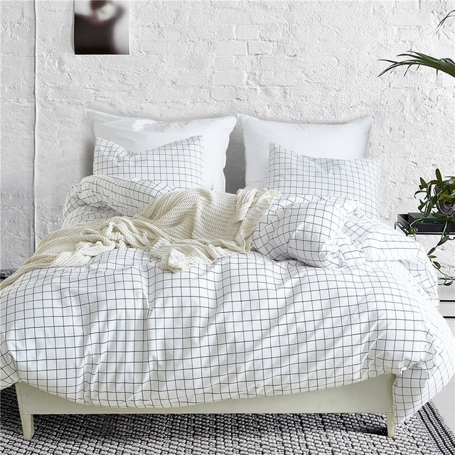 Nordic Lattice Bedding Set Bed Linen Simple Fashion Stripe White Bed Duvet Cover Sets  Home Textile US UK Size