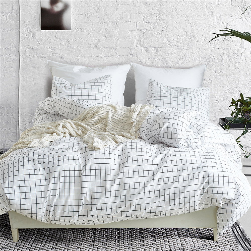 Nordic Lattice Bedding Set Bed Linen Simple Fashion Stripe White Bed Duvet Cover Sets Home Textile US UK Size