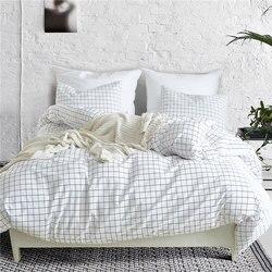Nordic Lattice Bedding Set Bed Linen Simple Fashion Stripe White Bed Sheet Duvet Cover Sets 3Pcs Home Textile US UK Size