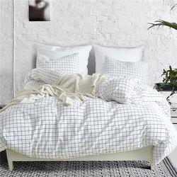 Nordic Lattice Bedding Set Bed Linen Simple Fashion Stripe White Bed Sheet Duvet Cover Sets  Home Textile US UK Size