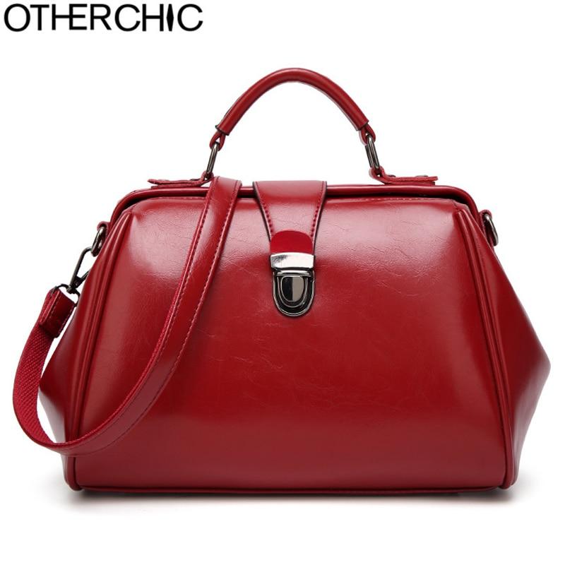OTHERCHIC All Match Women Designer Handbags Top-Handle Vintage Doctor Bags Fashion Solid Women Shoulder Messenger Bags L-7N08-67