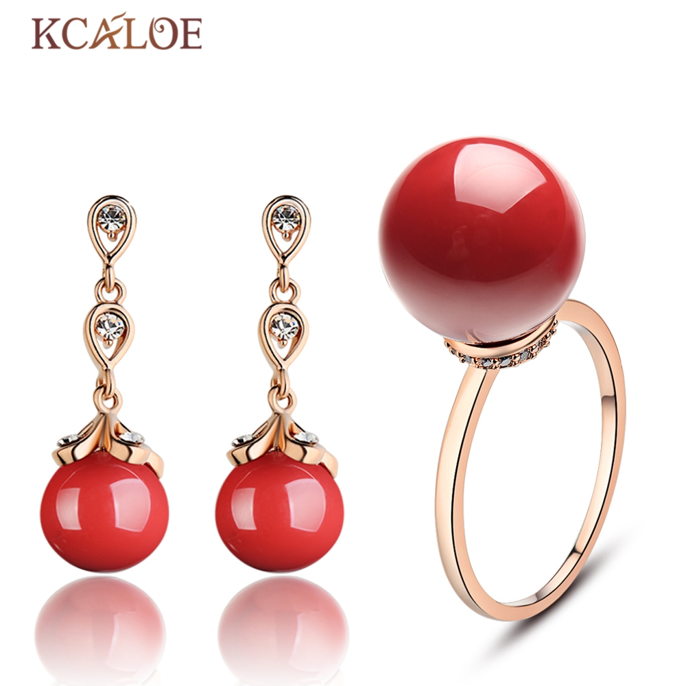 KCALOE Jewellery Set Fashion Red Round Ball Artificial Coral Rose Gold Color Austrian Crystal Wedding Jewelry Sets For Women