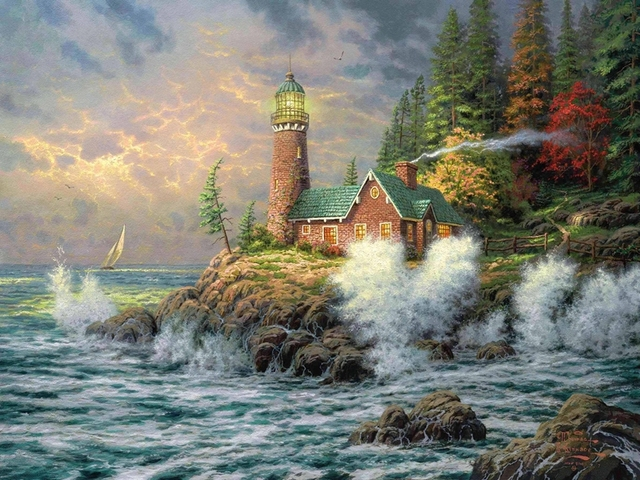 US $30 0 |HD prints original oil paintings canvas thomas kinkade,  lighthouse, sea, art 0101-in Painting & Calligraphy from Home & Garden on