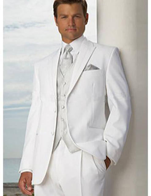 Handsome White Bridegroom suits Groom Tuxedos Mens Wedding Suits ...