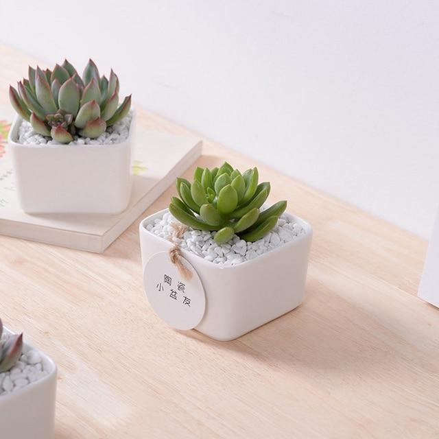 1pc Home Garden Decorative Flower Pots Small Rectangular Bonsai Pot White Ceramic Plant For Succulents