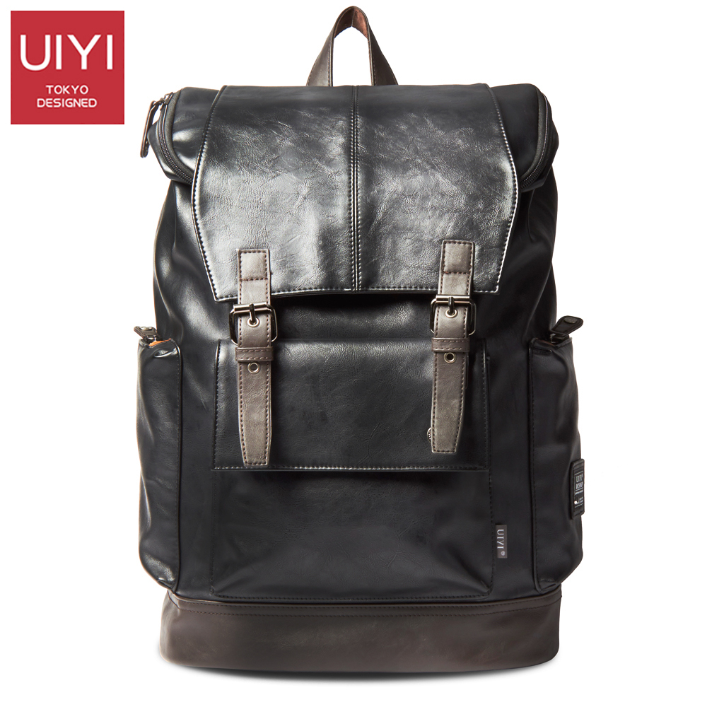 UIYI Vintage Men s Backpack PU Leather Bag Men Travel Backpack 14 Laptop Computer Water Resistant