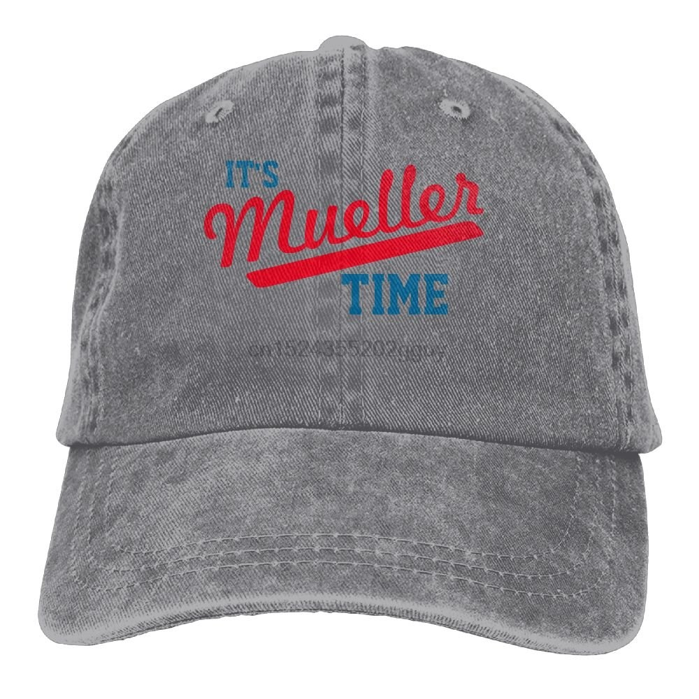 6cb8ef23c Funny It's Mueller Time Unisex Cotton Washed Denim Visor Hat Adjustable Ash