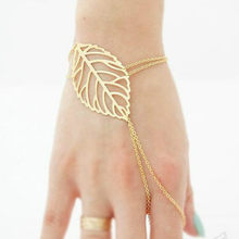 11.11 Hot New Fashion Leaves Around Chain & Link Bracelets Women Jewelry Double Gold Silver Bilezik Opening Gift Mujer Pulseras(China)