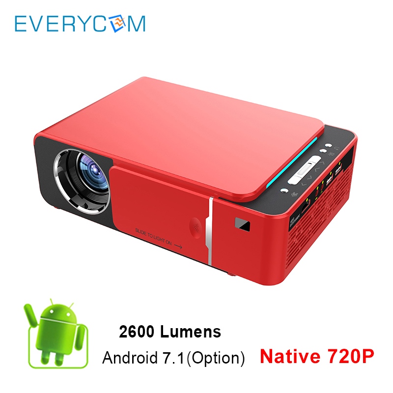 Everycom T6 LED Video Projector HD 720P 2600 Lumens Portable HDMI Option Android Support 4K 1080p