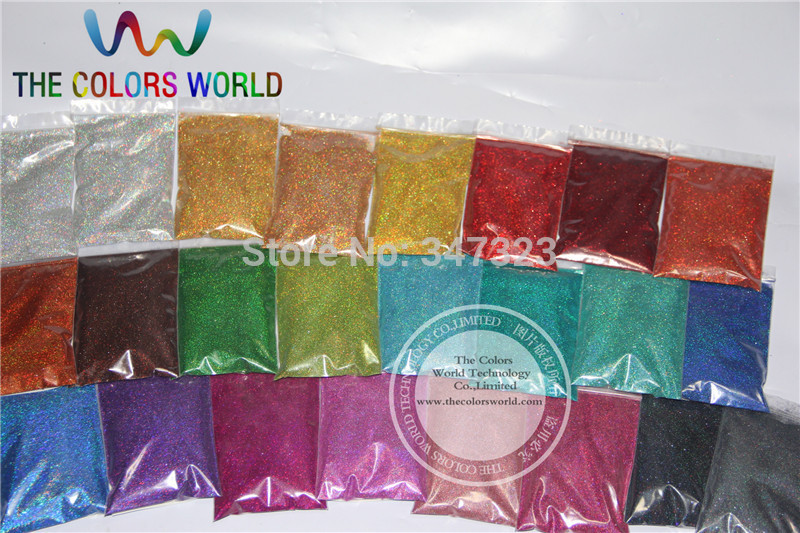 24 Laser Holographic Colors 0.1MM fine Glitter Powder for nail decoration and others DIY Accessories
