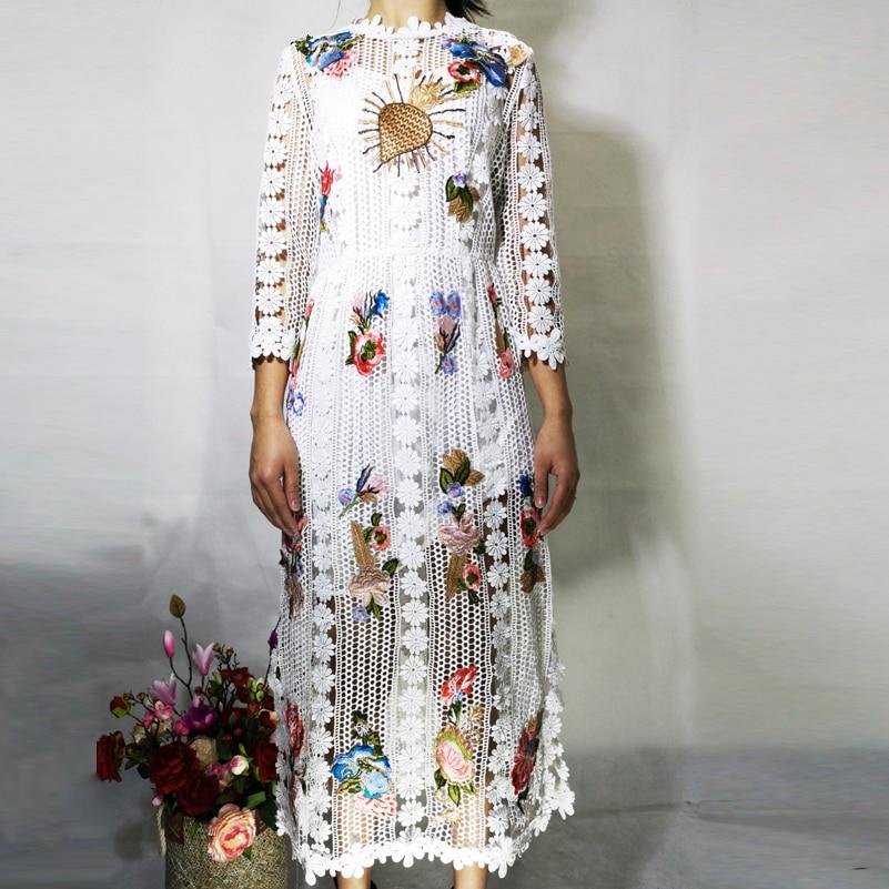 mollet 3 Fleur Noir Qualité Applique Fashion Manches Piste blanc 4 Brodé Mi Haute Femmes Robe Street Designer Dentelle Deluxe High dnT8XUWRCq
