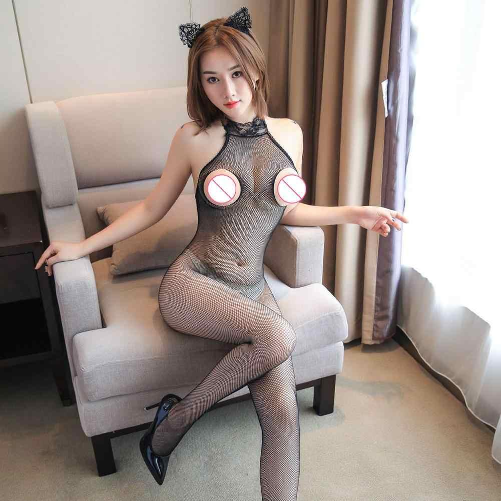 Mono Sexy para mujer ropa interior de talla grande Lencería abierta entrepierna ahuecada medias de malla Sexy Halter Fishnet Bodysuit FL004