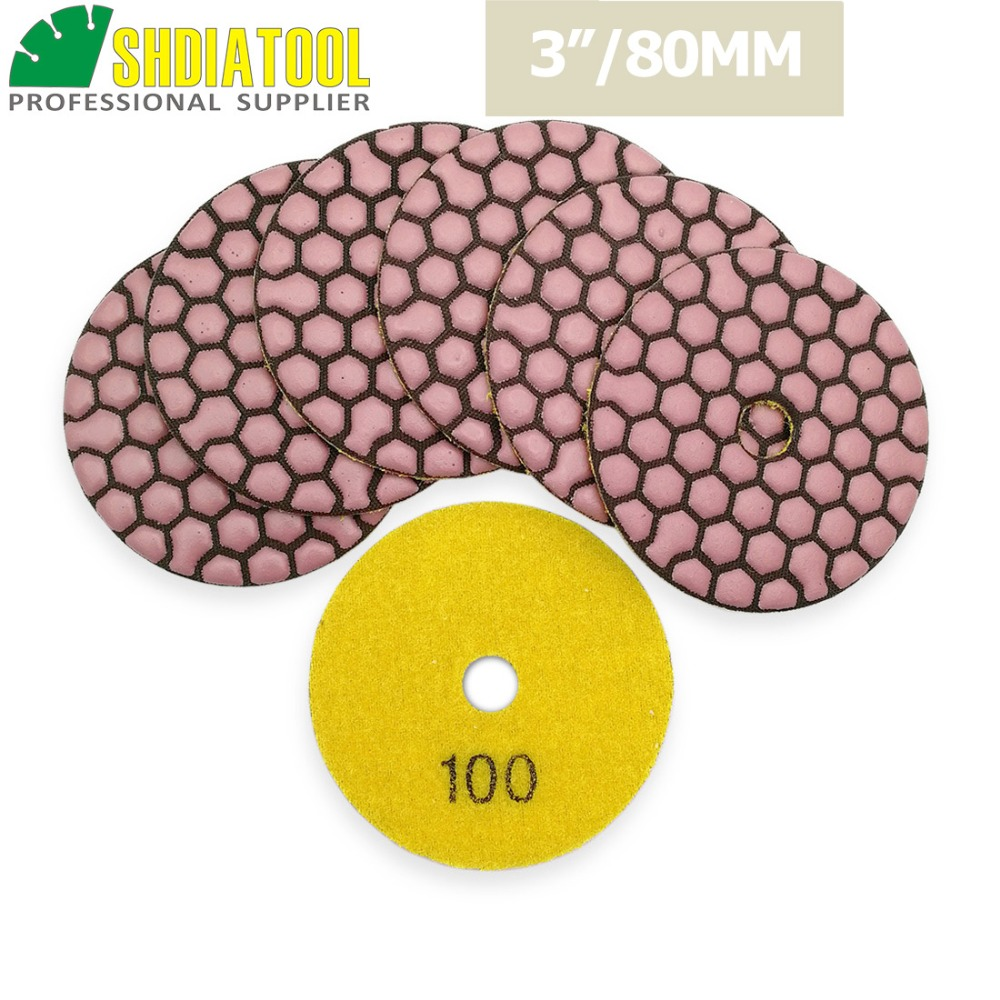"Backer Plate Pad /& 6Pcs 3/"" Dry Diamond Polishing Pads Disc Buffing Marble Stone"