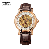 GOLGEN бизнес автоматические механические часы Мужские часы Скелетон 50 м водонепроницаемые лучший бренд Роскошные наручные часы