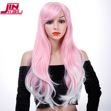JINKAILI 30 Long Wavy Cosplay Halloween Wig Fake Bangs Pink Wigs For Black/Black Women Heat Resistant Synthetic Hair
