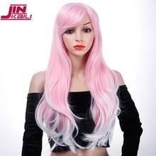 "JINKAILI 30"" Long Wavy Cosplay Halloween Wig Fake Bangs Pink Wigs For Black/Black Women Heat Resistant Synthetic Hair"