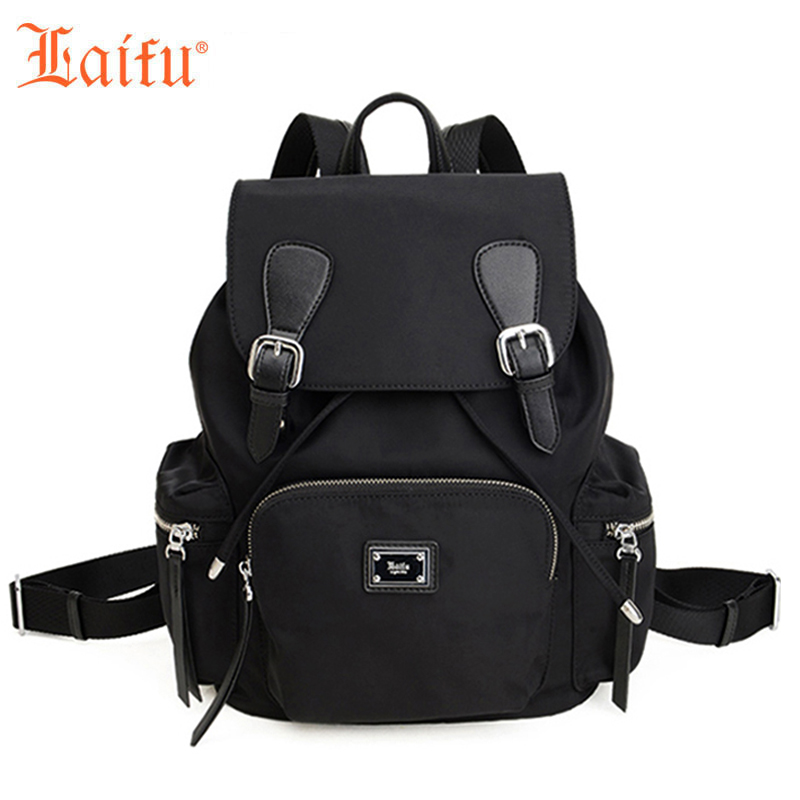 Laifu Women Backpack Fashion Female Travel Shoulders Bag Student School Bag Nylon Waterproof Lightweight(Black, Green) famous brand laifu design women lightweight nylon bag teenage girls school backpack preppy style shopping travel black coffee page 9 page 7 page 1