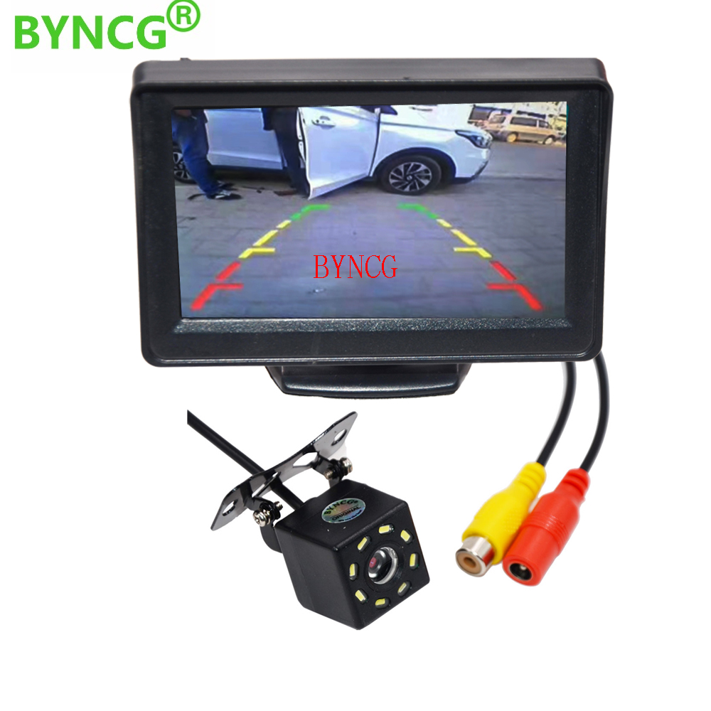 BYNCG Car Rear View Camera 4.3 TFT LCD Color Rearview Display Monitor + Waterproof Reversing Backup 2In1 Parking System KitBYNCG Car Rear View Camera 4.3 TFT LCD Color Rearview Display Monitor + Waterproof Reversing Backup 2In1 Parking System Kit