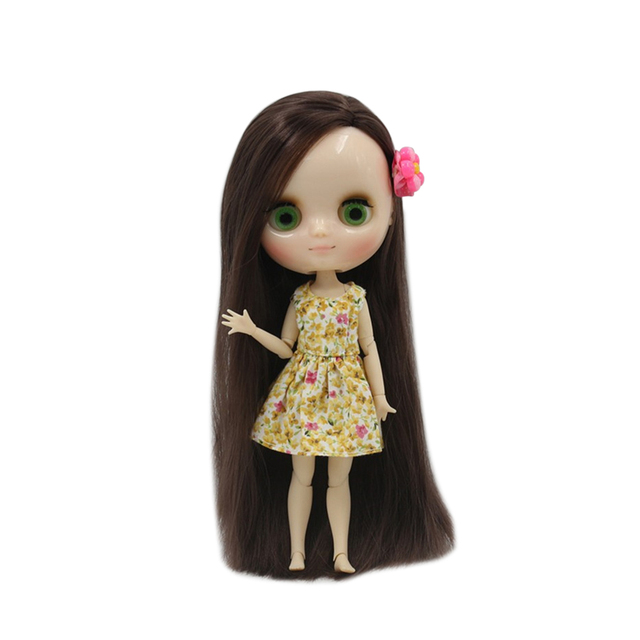 Middle Blyth Nude Doll 20Cm Joint Body shine face Long Straight Brown Hair Side Cut 1/8 with hand set