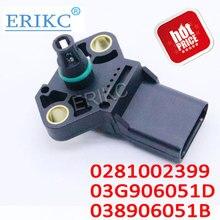 ERIKC 2,5 бар Карта сенсор коллектор абсолютный турбо Впускной датчик давления наддува 0281002399 03G906051D для Audi VW JETTA SKODA