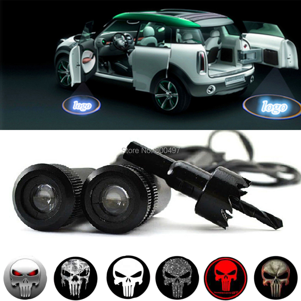 2 x Universal 5W Car LED Laser Logo Lights Door Welcome Ghost Shadow Projector Door Courtesy Lights for Punisher Skull Series