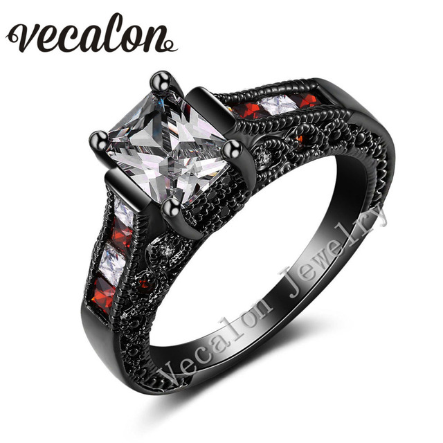 Great Vecalon Vintage Wedding Band Ring Set For Women Red AAAAA Zircon Cz 10KT  Black Gold Filled