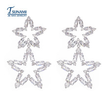 In 2017 the new pentagram exaggerated zircon bride earrings