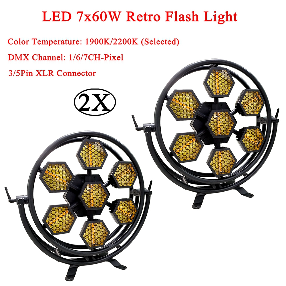 2Pcs/Lot Stage Effect Lighing LED 7x60W Retro Flash Light DMX512 1/6/7CH Channel Sound Party Pixel Light Club DJ Disco Equipment