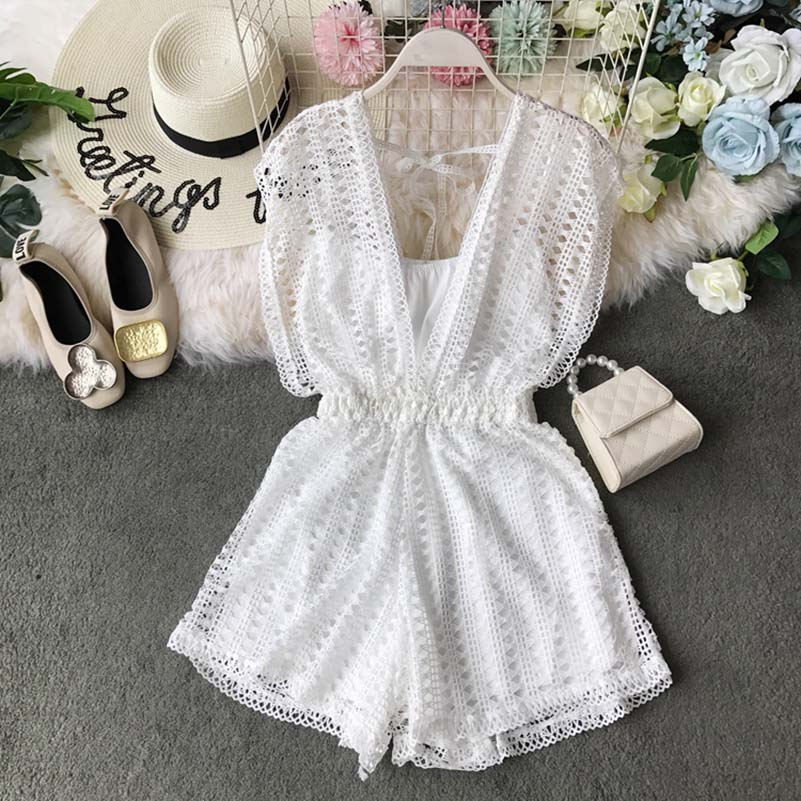 New Summer Bodysuit Women White V Neck Rompers Hollowed Out Playsuits Women Sleeveless Vacation Jumpsuits in Rompers from Women 39 s Clothing