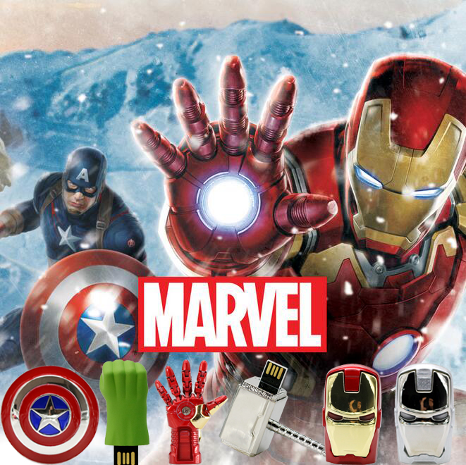 Avengers usb flash drive 4G dzelzs cilvēks 8G pildspalva vadīt 16G Captain America 32G usb stick Hulk Thor pendrive āmurs U disku
