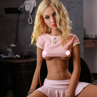 Blond gril TPE Silicone Sex Dolls fat Boobs with Skeleton Lifelike Vagina Pussy oral anal love doll soft skin no oil