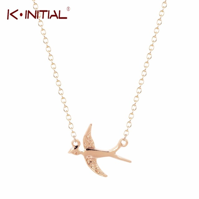 Kinitial gold silver plated animal swallow necklaces flying bird kinitial gold silver plated animal swallow necklaces flying bird necklace swallows necklaces pendants for women mozeypictures Gallery