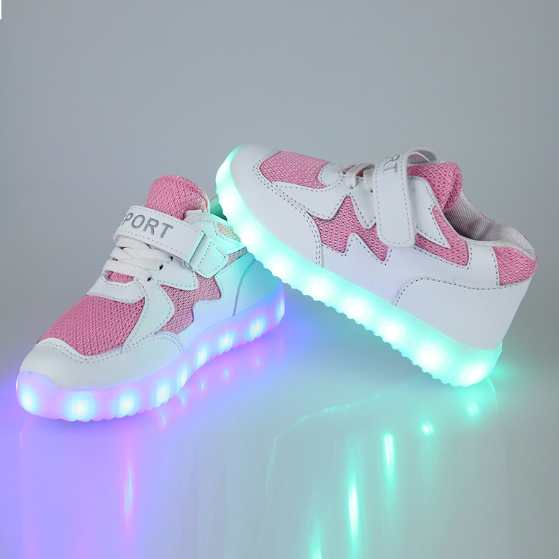 EUR 25-36 Luminous Sneakers USB Charge Led Children Shoes Boy Girl Glowing Tennis Kids USB Light up Shoes