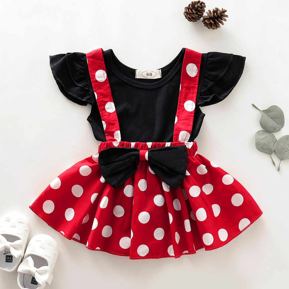 Infant Kids Baby Girls Soild Short Sleeve Romper T-Shirt Top+Dot Print Bow Skirt Outfits 2pc Set Toddler Kids Baby girls Clothes
