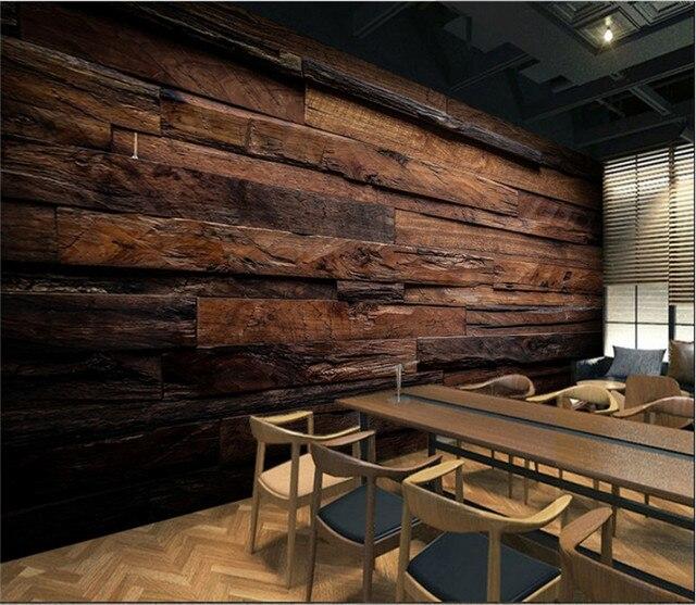 Dunkelbraun Retro Nostalgischen Holzmaserung Gestreiften Wandbild Tapeten  für Wohnzimmer KTV Bar Cafe Restaurant Wand Papier 3D Hause decor