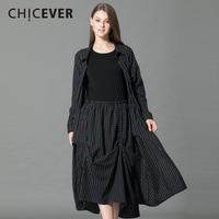 CHICEVER Spring Striped Two Pieces Set Women Long Sleeve Loose Big Size Shirt With High Waist