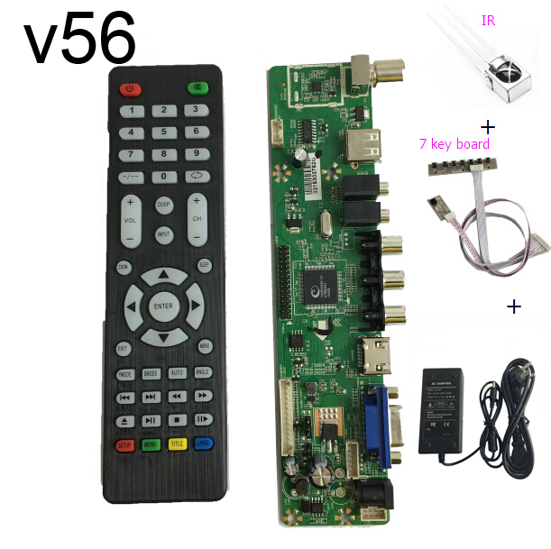 V56 Universal LCD TV Controller Driver Board PC VGA HDMI USB power adapter keyboard
