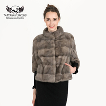 100% Real Mink Fur Coat For Women,Genuine Natural Russian Winter Mink Fur Coats,Luxury Black Color Customized Size Mink Fur Coat