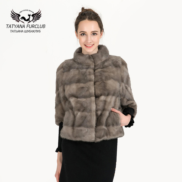2d89066a3f 100% Real Mink Fur Coat For Women,Genuine Natural Russian Winter Mink Fur  Coats,Luxury Black Color Customized Size Mink Fur Coat