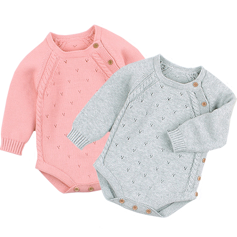 Newborn Baby Girl Bodysuits Fashion Candy Color Knitted Toddler Infant Kids Boys Clothes Spring Long Sleeve Children Tops