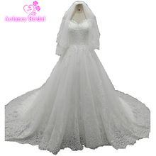 New Arrival Luxurious Lace Wedding Dress 2017 Sweetheart off the Shoulder High Quality Soft Tulle Robe de mariage Bridal Dresses
