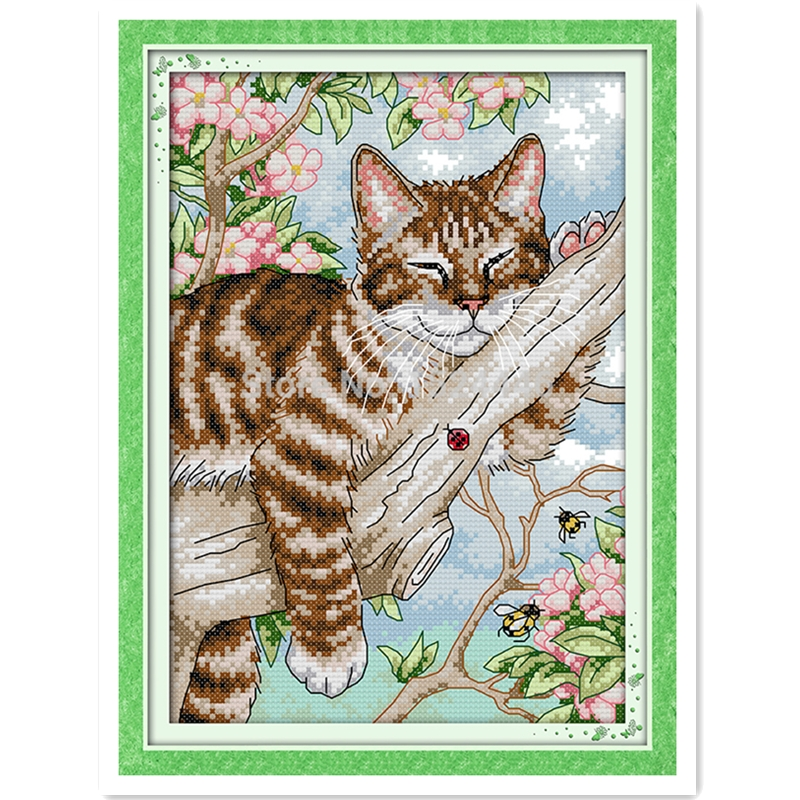 A Lazy Cat On The Tree 11CT 14CT Printed On Canvas DIY Set Home Decor Chinese Counted Cross Stitch Pattern Embroidery Cross Set