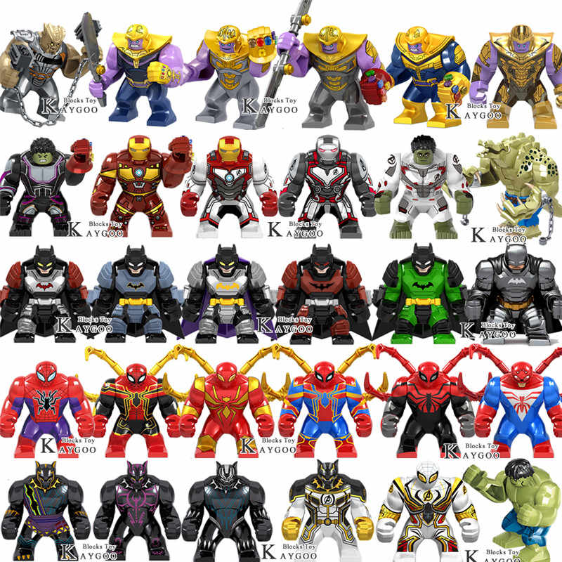 Big Large Super Heroes Avengers Infinity War Spiderman Thanos Hulk Buster Iron Man  Venom Building Blocks Toys for children